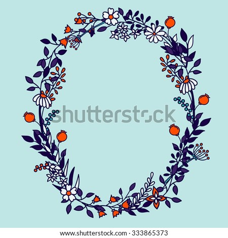 Flower alphabet vector design. Set of letters. Floral abc. Font with leaves, flowers and stems. Letter of flowers. Letter O - stock vector