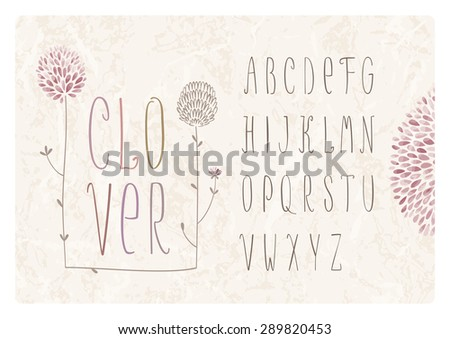 Flower alphabet with clover flowers and grass on grunge background  - stock vector