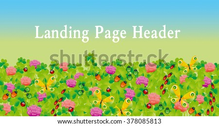 flower and bugs header. clover and butterfly vector illustration. landing page header. - stock vector