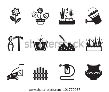 Flower and garden icons set - vector illustration - stock vector