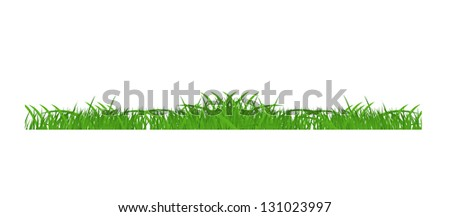 Flower and grass Borders set. vector illustration - stock vector