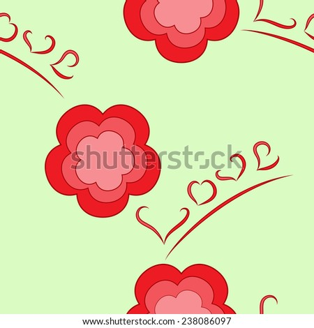 Flower-and-love seamless texture - stock vector