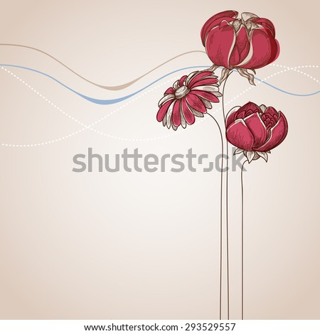 Flower background festive card for various events - stock vector