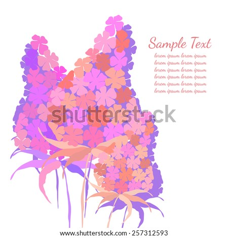 Flower background for design. Lilac flowers with place for text. Page template. - stock vector