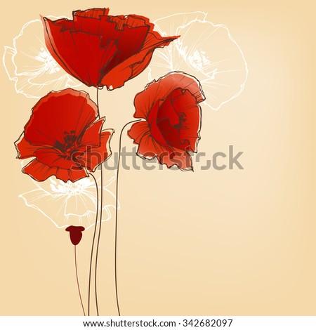 Flower background for greeting cards, poppy design - stock vector
