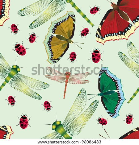 Flower background with butterflies and dragonflies. Seamless. - stock vector
