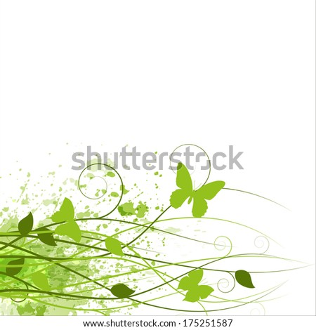 Flower background with butterfly. Vector illustration - stock vector