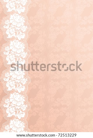Flower background with lace, pink - stock vector