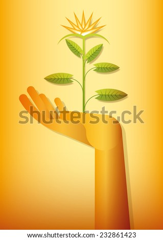 flower blooming on a golden hand - stock vector