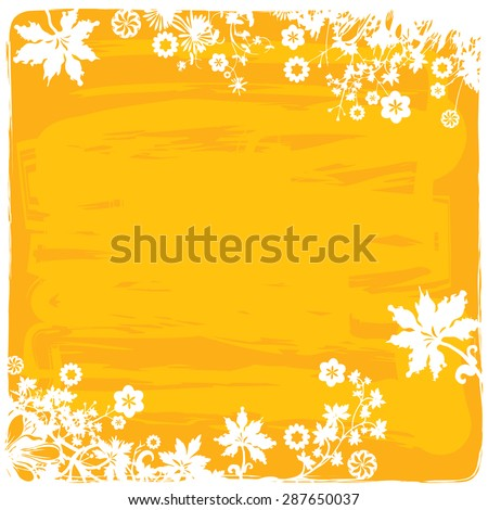 Flower Border / Frame Background in Yellow Orange Colors - stock vector