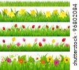 Flower Borders Set, Vector Illustration - stock vector