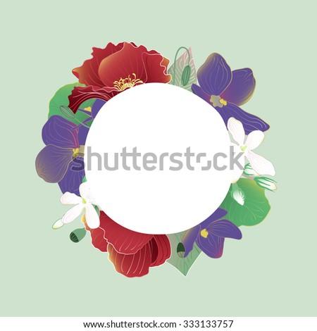 Flower bouquet for wedding card - stock vector