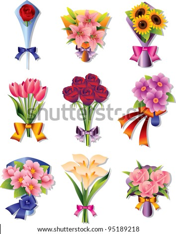 flower bouquet icons - stock vector