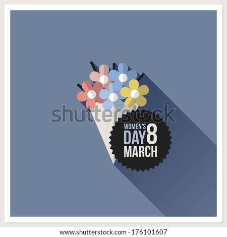 Flower bouquet. International Women??s Day card. Flat vector design with long shadow - stock vector
