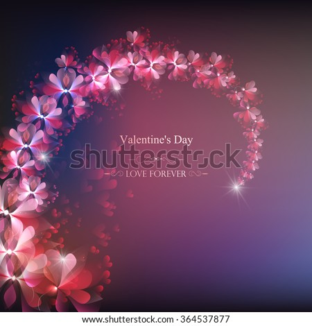 flower branch, vector, delicate abstract illustration, valentines day - stock vector