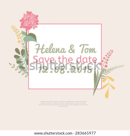 Flower cards wedding invitations. Templates Save the date. Editable Vector illustration. - stock vector