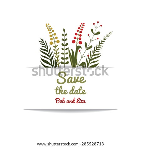 Flower cards wedding invitations. Templates Save the date.