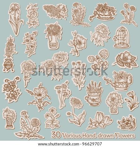 Flower Collection on tags - for scrapbook, design in vector - stock vector