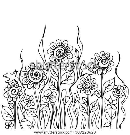 Flower doodles black ink on white background - stock vector