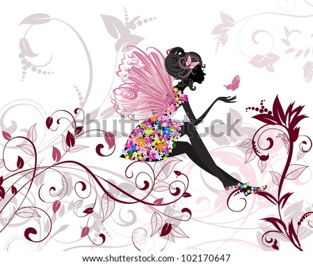 Flower Fairy with butterflies - stock vector