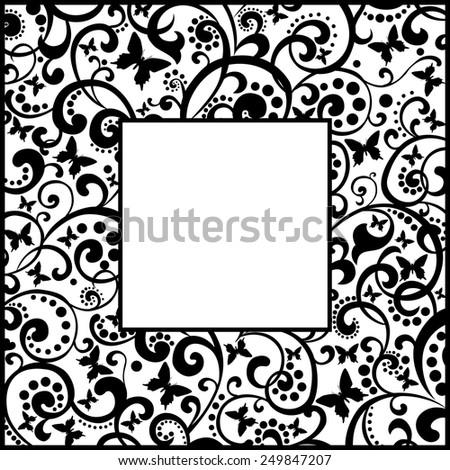 Flower Frame Black And White Flower Frame Isolated on White