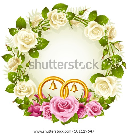 Flower frame. Vector white and pink rose and golden wedding rings - stock vector