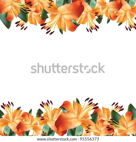 Flower frame with orange lily - stock vector