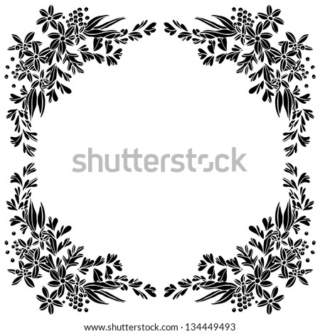Flower frame with space for your text, Vector illustration - stock vector