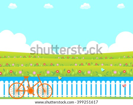flower garden and bicycle - stock vector