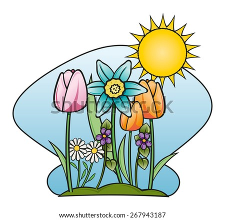 flower garden and sunny - stock vector