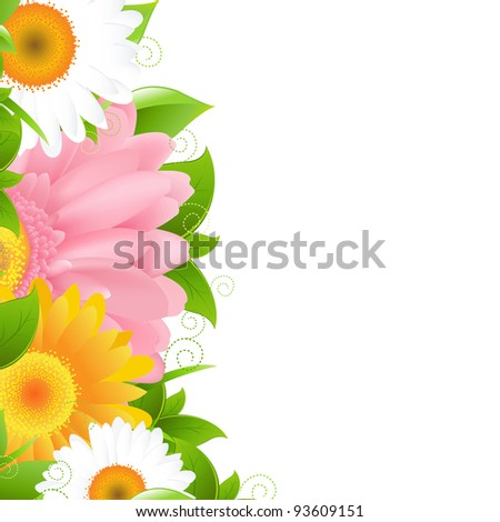Flower Gerbers And Leaves, Vector Illustration - stock vector
