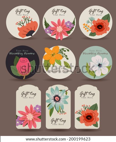 Flower Gift Tag - stock vector