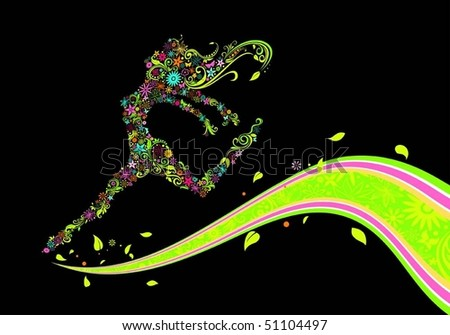 Flower girl run on flower line - stock vector