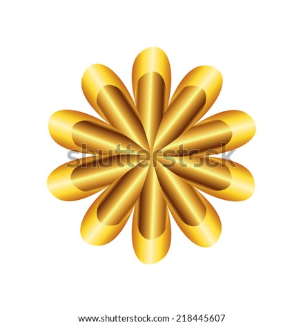 Flower Golden Ratio Circular symbol - stock vector