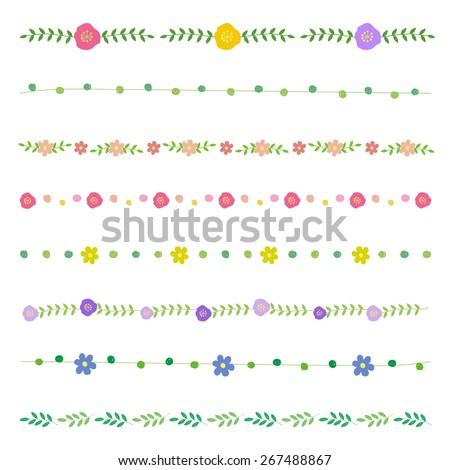 flower hand-drawn borders / vector eps10 - stock vector