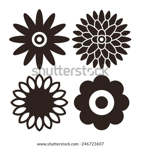 Flower icon set - gerbera, chrysanthemum, sunflower and daisy isolated on white background - stock vector