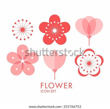 Flower. Icon set. Sakura - stock vector