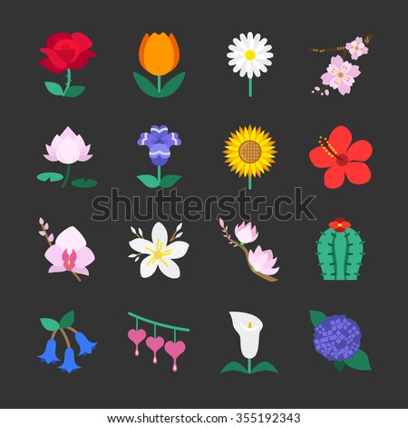 Flower icons - stock vector