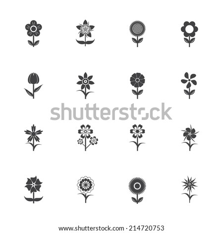 Flower icons set - stock vector