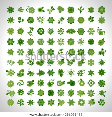 Flower Icons Set - Isolated On Gray Background - Vector Illustration, Graphic Design, Editable For Your Design - stock vector