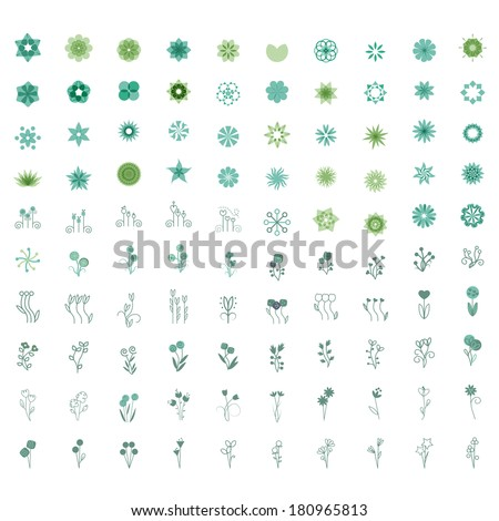 Flower Icons Set - Isolated On White Background - Vector illustration, Graphic Design Editable For Your Design. - stock vector