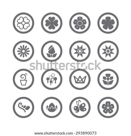 Flower icons set, Vector - stock vector