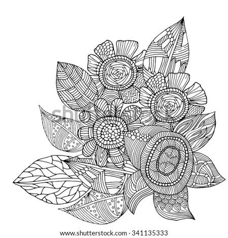 Flower illustration on simple white background. Zentangle pattern - stock vector