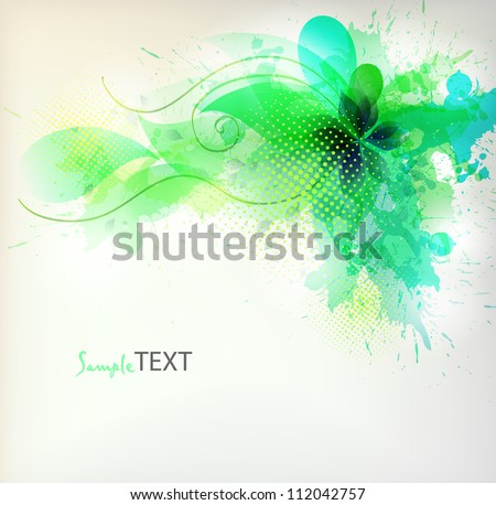 flower in colorful ink splattered green background. Vector design - stock vector