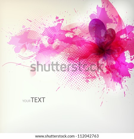 flower in colorful ink splattered pink background. Vector design - stock vector