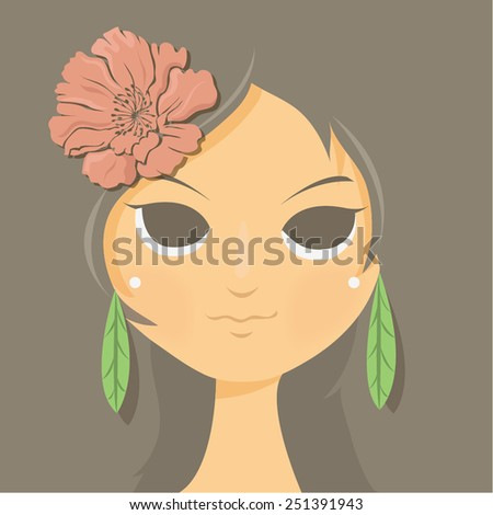 flower lady sexy - stock vector