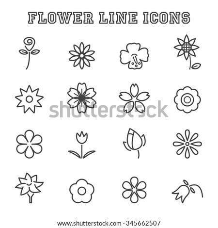 flower line icons, mono vector symbols - stock vector
