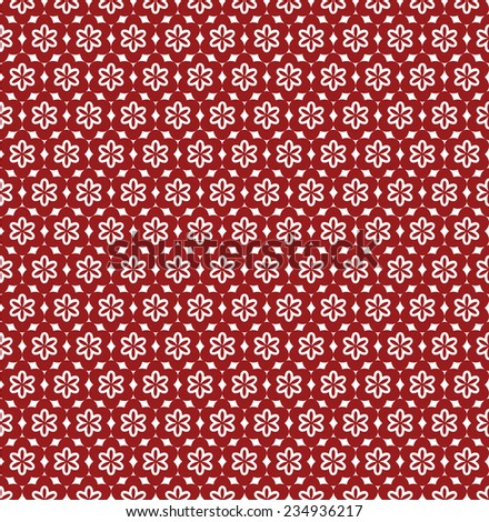 Flower Line Seamless Pattern - Red and White Colors - stock vector