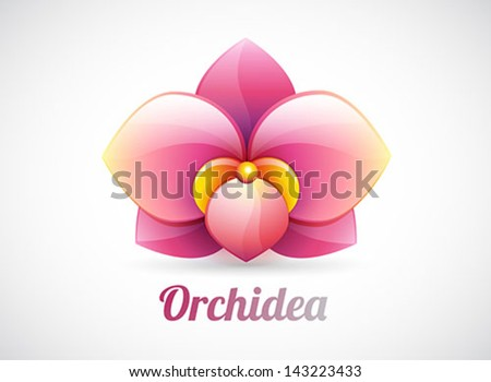 flower logo - pink orchid flower shape - vector icon isolated on white background - stock vector