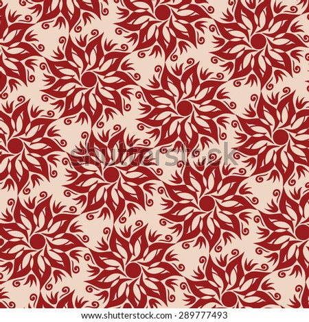 Flower Mandala Seamless Pattern - Beige and Red Colors - stock vector